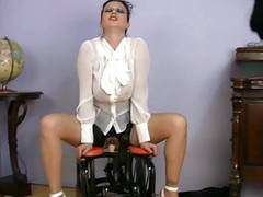 busty clothed MILF SEX TEACHER riding sex machine Thumb