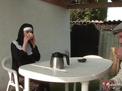 Young french nun sodomized in threesome with Papy Voyeur Thumb