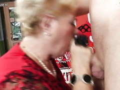 Old and young group sex with 2 grandmothers Thumb