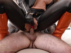 julie skyhigh fucked in leather legging&boots:cum on leather Thumb