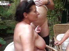 FUN MOVIES Amateur German Foursome in the garden Thumb