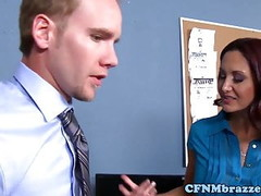 Femdom ffm officesex with Lisa Ann and Ava Addams Thumb