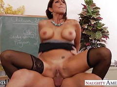 Stockinged teacher Tara Holiday fuck her young student Thumb