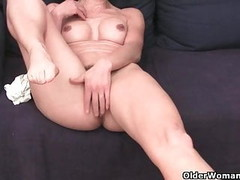 Granny in soaked panties fingering hairy and swollen cunt Thumb
