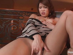 Shy Asian babe fingers her pussy for the camera Thumb