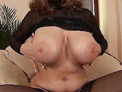 EU Babe in Black Stockings Rubs Big Tits Toys Her Pussy Thumb