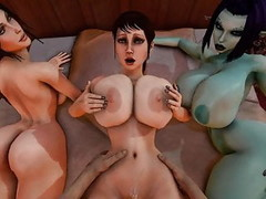 Trishka gets fucked while Soria and Lara Croft watch 3D Thumb