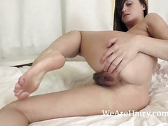 Rene models by mirror and strips naked in bed Thumb