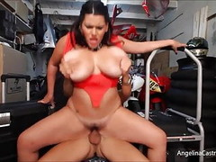 Busty Angelina Castro Fucks & takes Cumshot In Bike Garage! Thumb