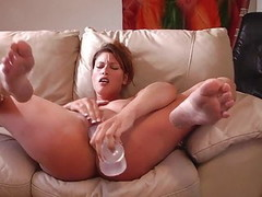 Huge Dildo Makes Her Squirt Thumb