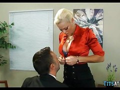 Blonde with huge Tits at work Thumb