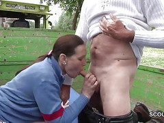 German MILF Mother Sedcue To Fuck Outdoor by Stranger Thumb