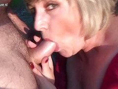 Pervert granny squirts and takes hard cock Thumb