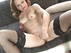 Naughty mature mom playing with her shaved pussy Thumb
