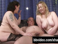 Two busty slags share a hard prick Thumb
