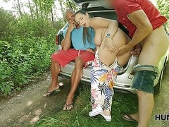 HUNT4K. Hunter fucks busty lady in the middle of the public Thumb