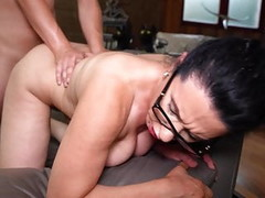 Naughty hairy mom Sofia Siena seduce lucky son Thumb